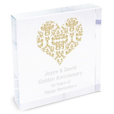 Personalised Gold Damask Heart Crystal Token - Large